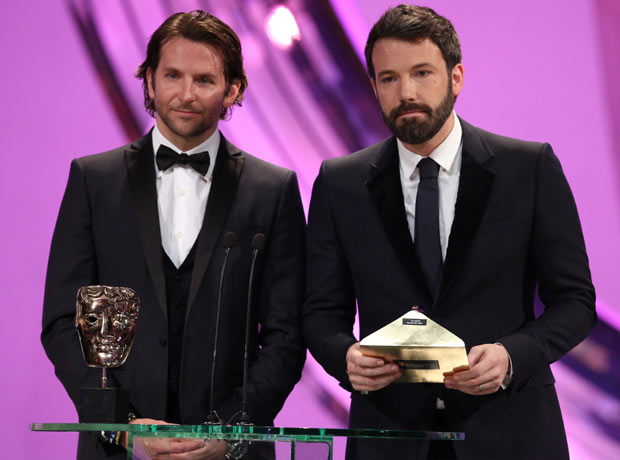 Bradley Cooper and Ben Affleck present outstanding British film award at the Bafta awards ceremony