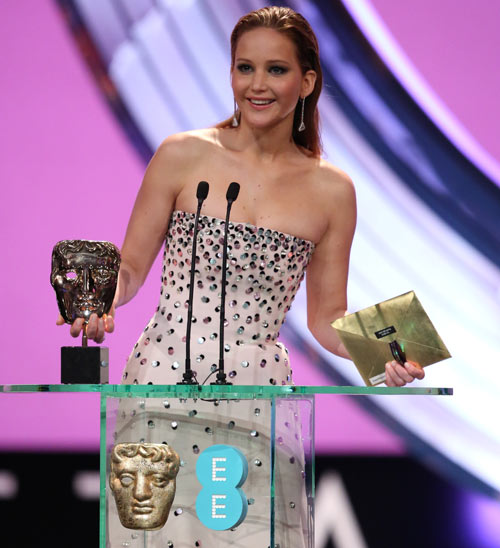 Jennifer Lawrence presenting the best supporting actor Bafta
