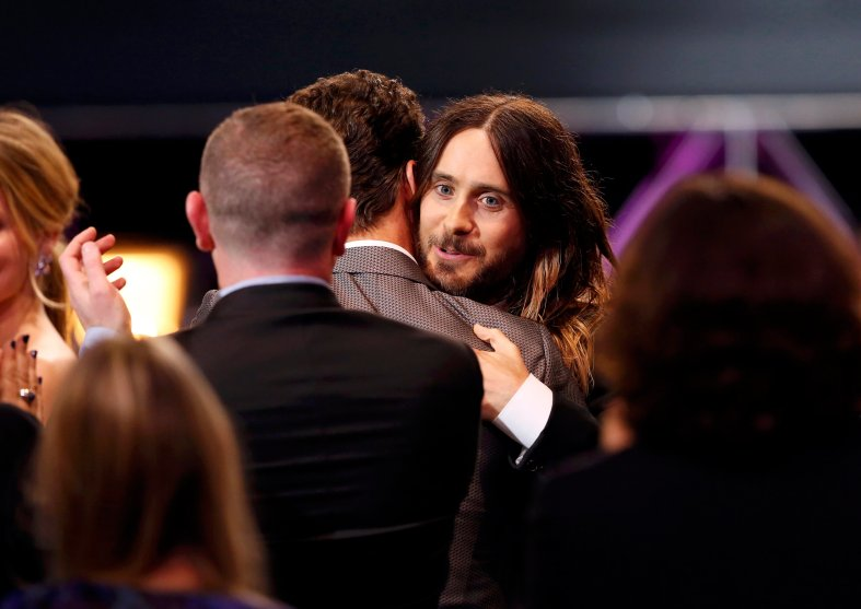 """Jared Leto wins the award for best supporting actor for """"Dallas Buyers Club"""" at the 19th annual Critics' Choice Movie Awards in Santa Monica"""